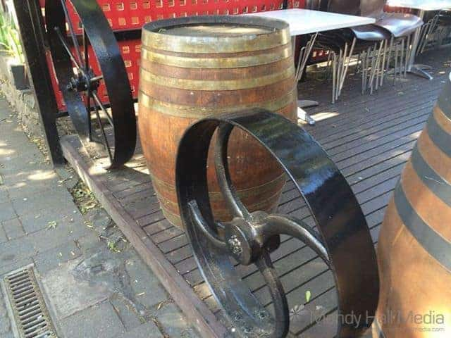 Old barrels and wheels