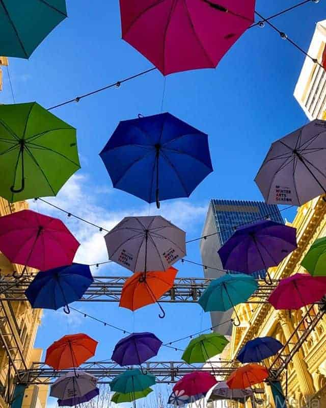 Umbrellas in the mall in Perth