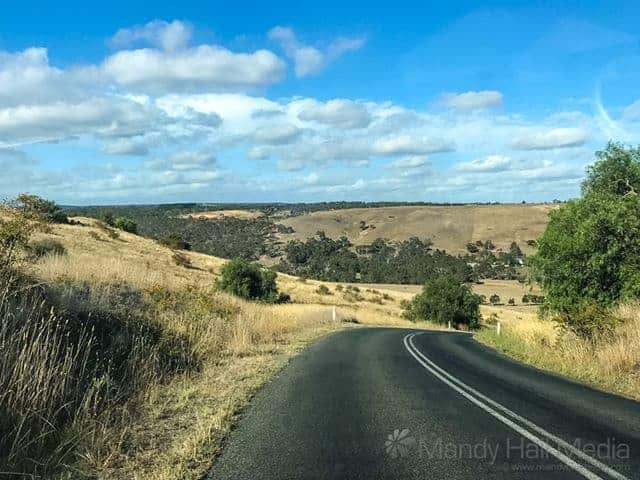 Driving near Meredith in country Victoira