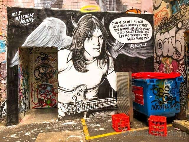 Malcolm Young mural in ACDC Lane