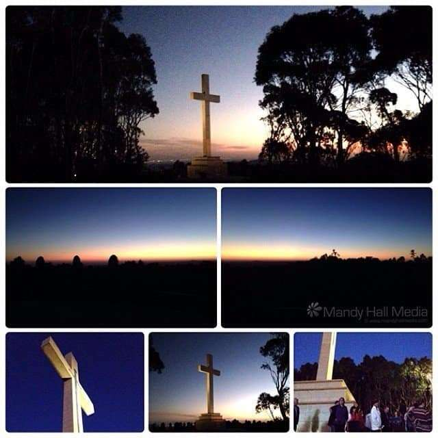 Sunset at the cross on Mount Macedon
