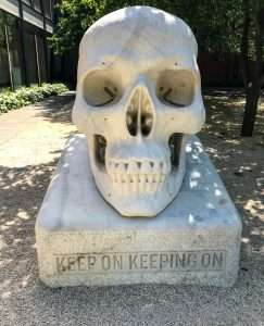 Skull outside the art gallery in Bendigo