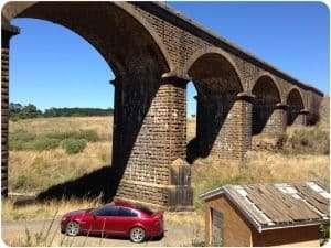 Historic railway bridge in Malmbsury, Victoria.