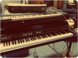 Pianos in the studio.
