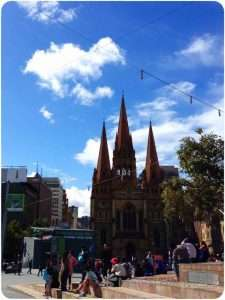 Looking across Federation Square to the Cathedral, Melbourne