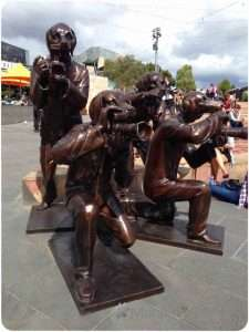 Sculpture of paparazzi dogs at Federation Square, Melbourne