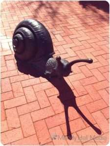 Snail sculpture in Canberra. They have even painted the trail beind them on the bricks. They're big enough to ride on