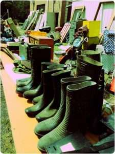 Gumboots on sale at the flea market