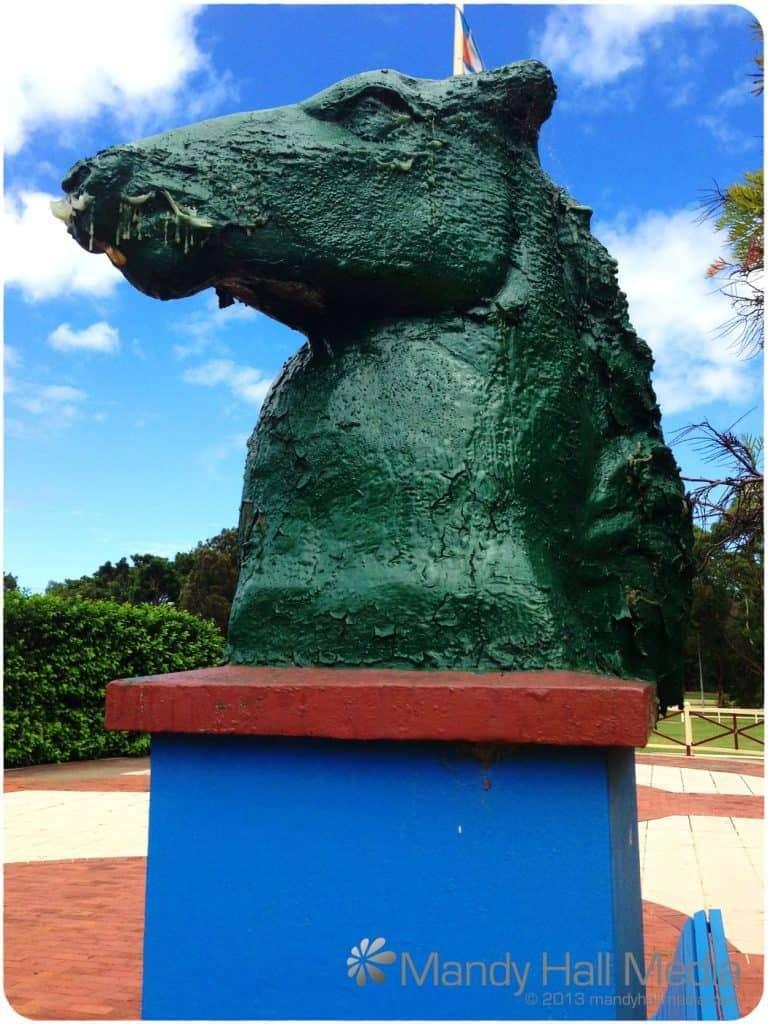 Banks Park, Sydney. Horse head at the gate