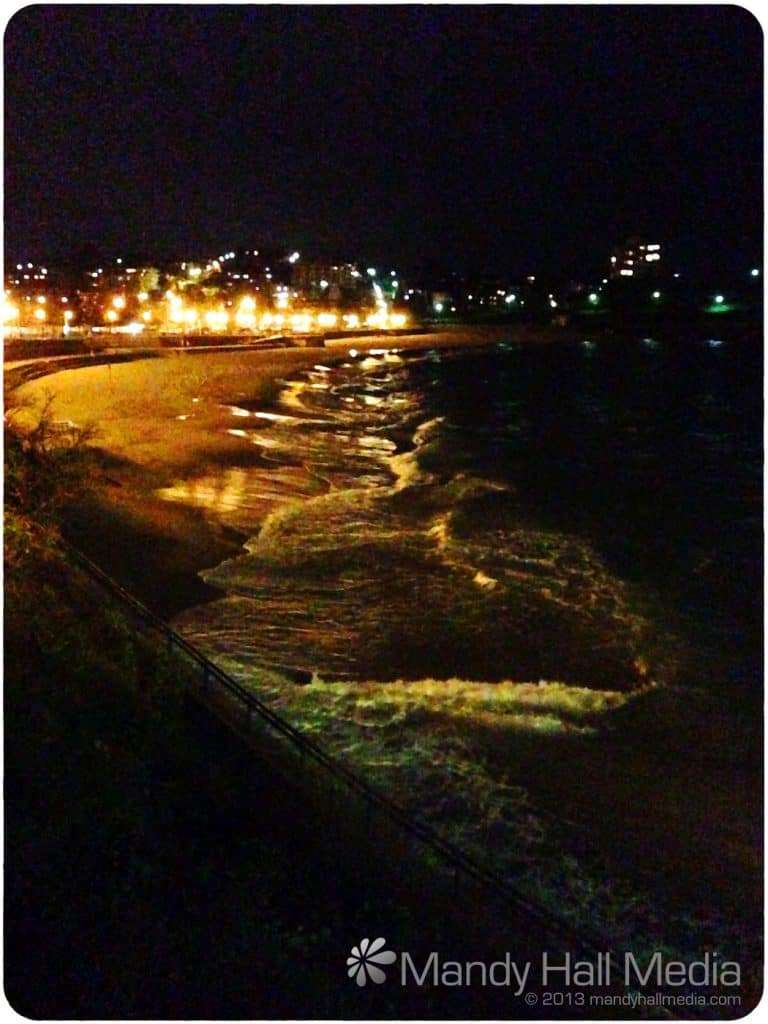 Coogee beach at night