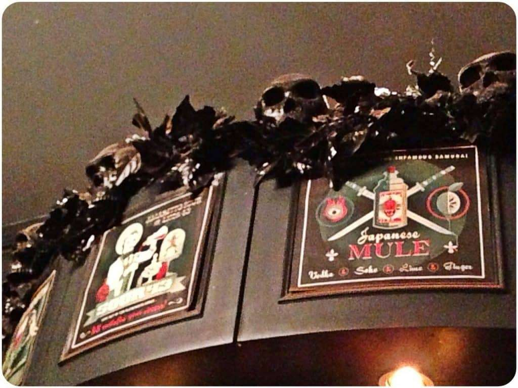 Skulls on the top of a bar in Kings Cross