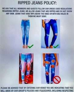 Ripped jeans policy at the RSL