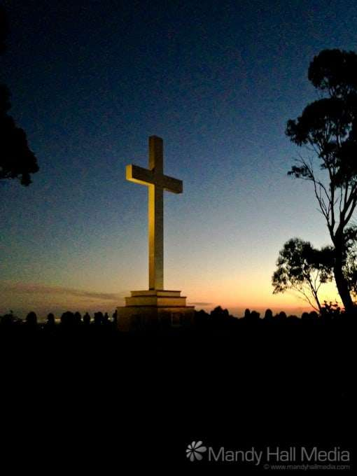 Sunset at the cross on Mount Macedon on the last day of the year