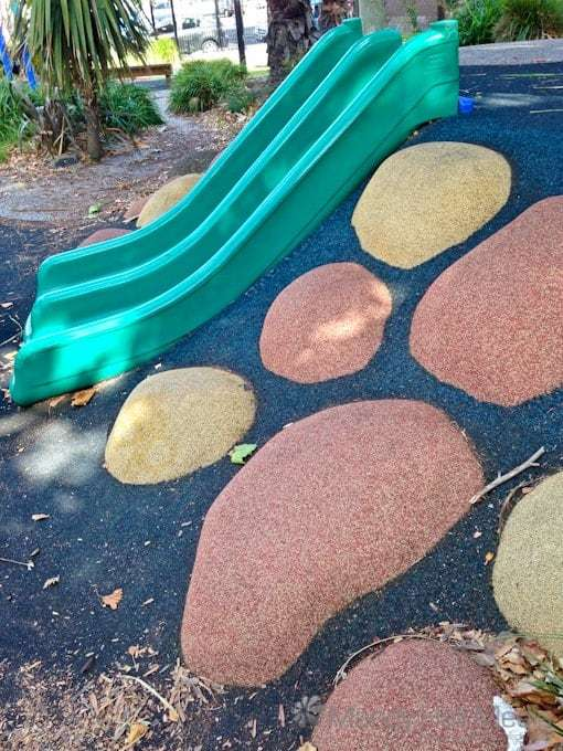 """Fake rubber rocks in a playground the lengths they will go to to keep kids """"safe"""" these days…"""