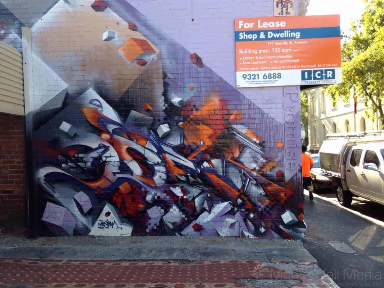 Street art in Greville st, Prahran with matching delivery man.