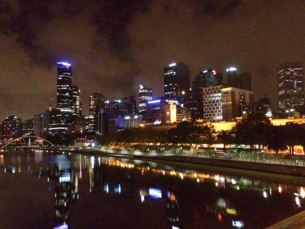 1am on Princes Bridge over the Yarra on a still spring night