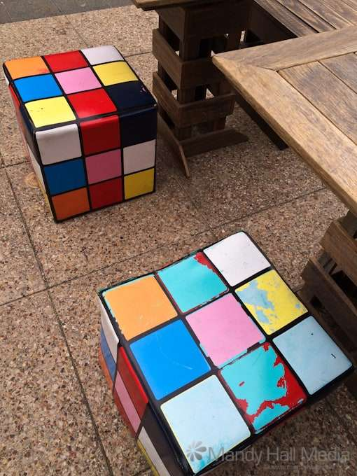 Rubix Cube chairs at a beachside cafe