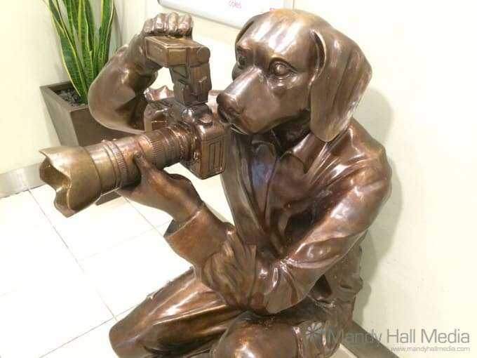 Creepy paparazzi dog statue