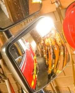 CFA uniforms in the fire truck mirror