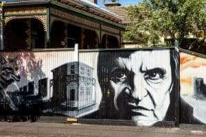 Close up of Johnny Cash on the fence