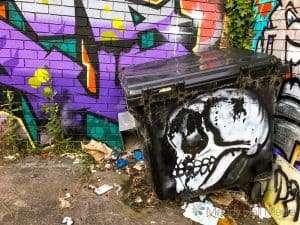 Skull dumpster bin