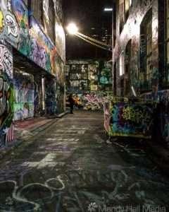 Melbourne laneway at night