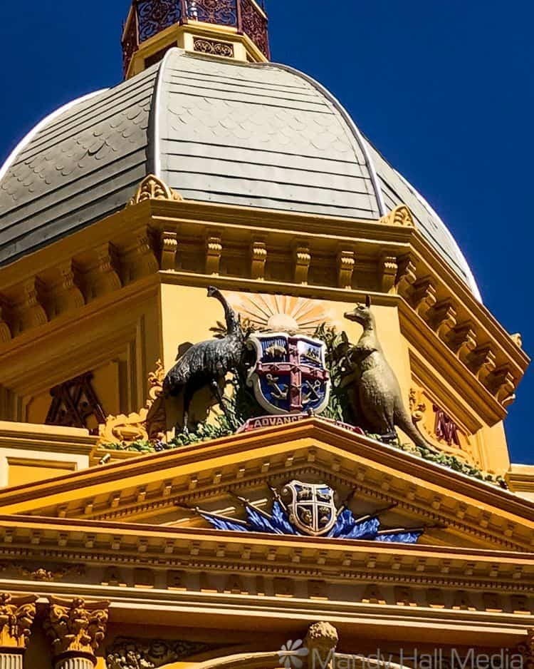 Coat of arms in Adelaide, animals around the wrong way.