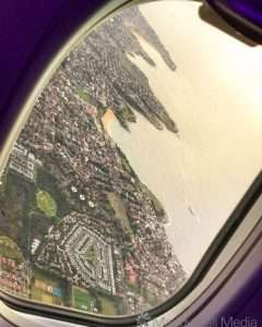 Coogee from the plane. Wedding Cake Island offshore.