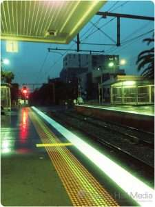 The train station at sunrise on a rainy morning is surprisingly peaceful