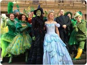 Wicked photocall on the step of the Treasury building in Melbourne. They arrived by tram. It was fun.