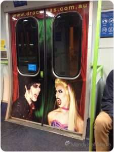 Ad for Dracula's Restaurant on the train. Looks great.