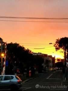 Spectacular sunset in Greville Street