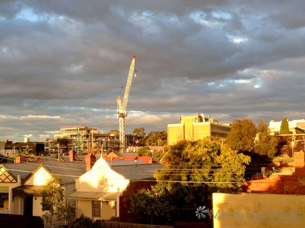 Sunset on a crane over Prahran