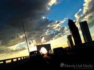 Driving through Melbourne at sunset