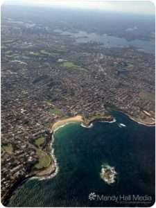 Wedding Cake island from the plane. It's just off Coogee Beach in Sydney.