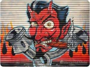 Coop devil graffitti on the door of the old Route 66 store