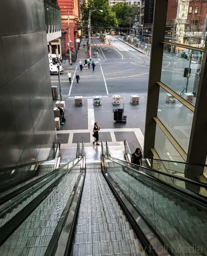 Looking down the escalator at Southern Cross Station