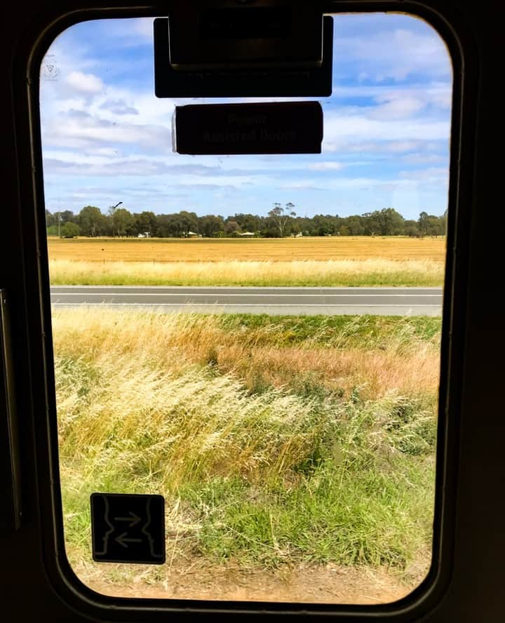 Countryside through the train door