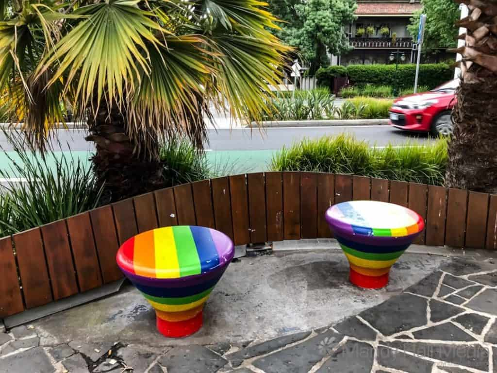Rainbow seating in Fitzroy St