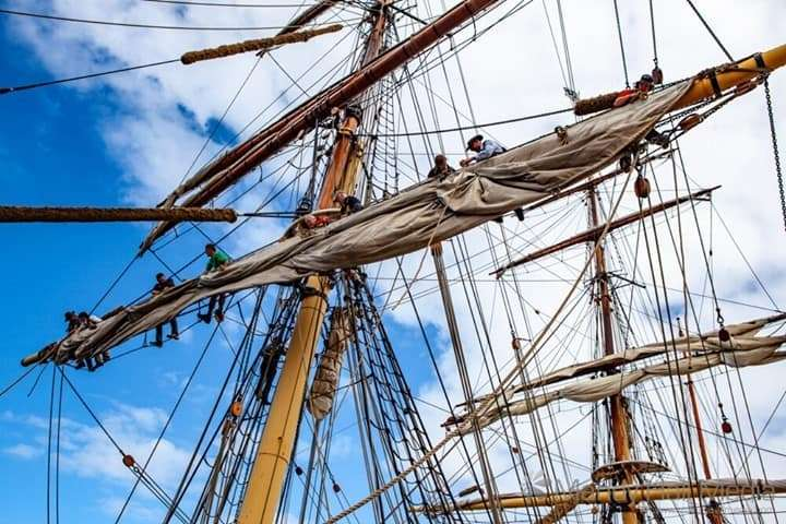 Crazy people in the rigging of the James Craig