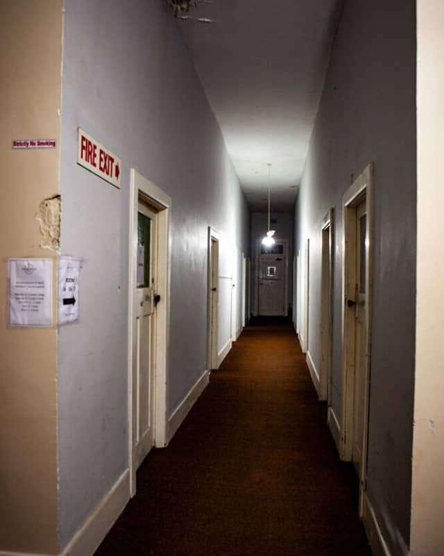 Creepy hotel room hallway