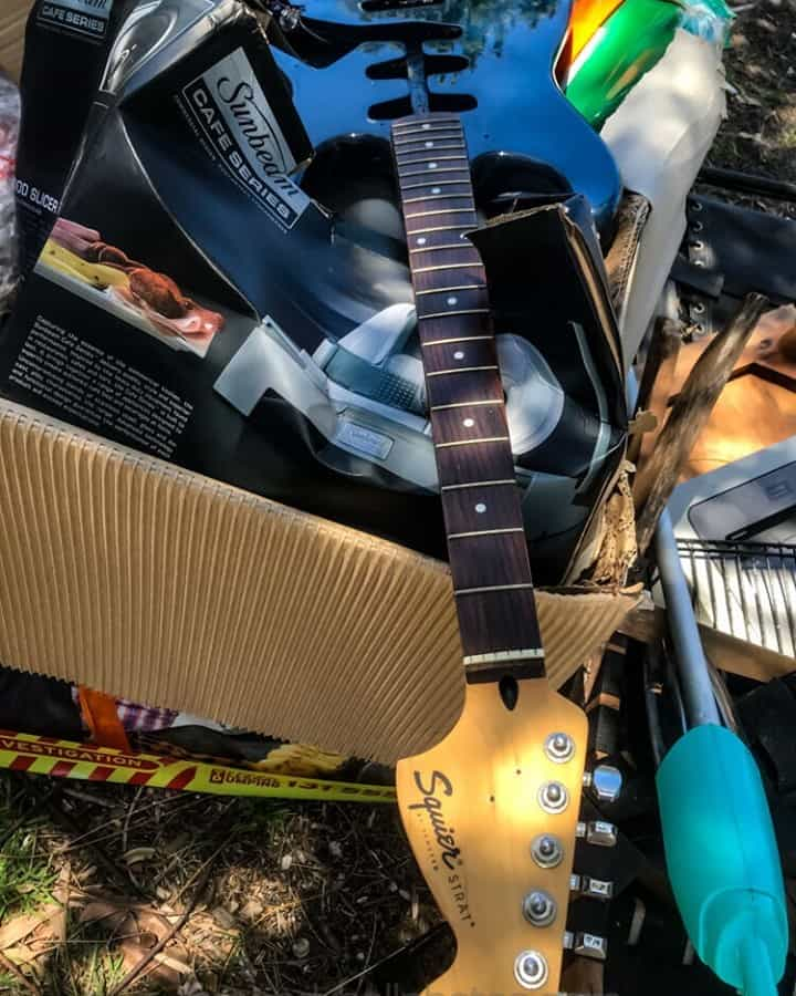 Guitar out with the rubbish