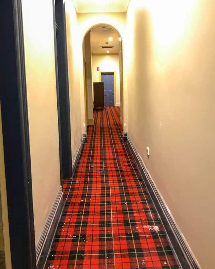 Creepy hallway. Vintage carpet.